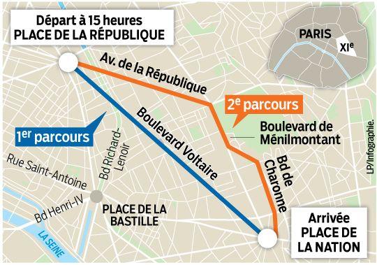 Itinéraire manifestation républicaine à Paris