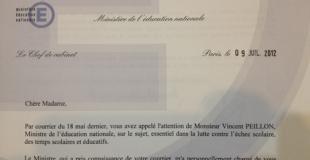 Le Ministère de l'Education Nationale répond à Parent-solo.fr
