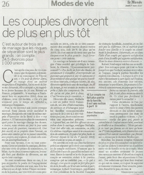 Article du Monde - Parent Solo