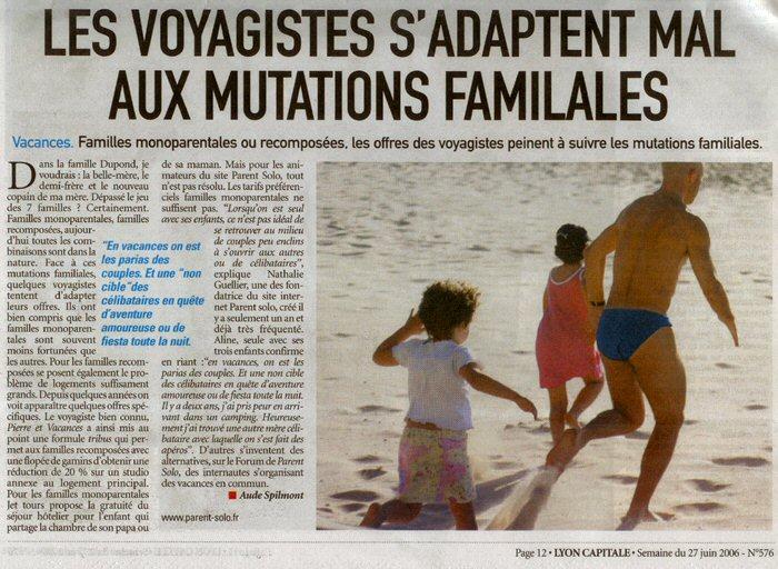 Article de Lyon Capitale sur la thématique  Les Voyagistes s'adaptent mal aux mutations familliales