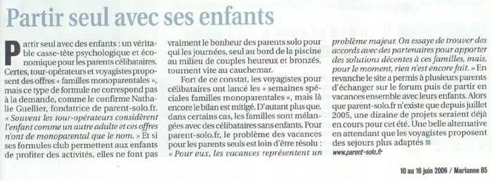 Article Mariane - Parent Solo Vacance